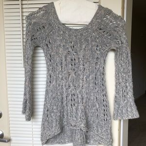 Free People Gray Open Cable Knit Sweater Size S